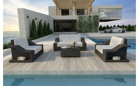 Lounge Set en rotin MIRAGE 2+1+1