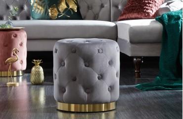 Designer Sitzhocker ROCCO CHESTER GREY GOLD NATIVO™ Möbel Schweiz