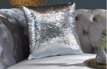 Cuscino di design GLOSSY SILVER-WHITE