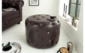 Designer Sitzhocker CHESTERFIELD DARK CFFEE 60 cm NATIVO™ Möbel Schweiz