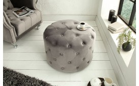 Designer Sitzhocker CHESTERFIELD LIGHT GREY 60 cm NATIVO™ Möbel Schweiz