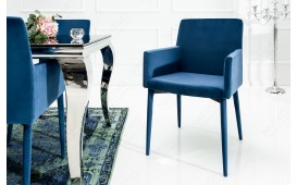 2 x Chaise Design TORINO ROYAL BLUE AVEC ACCOUDOIR