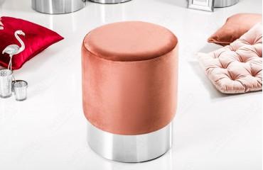 Designer Sitzhocker ROCCO DUSKY PINK SILVER 35 cm NATIVO™ Möbel Schweiz