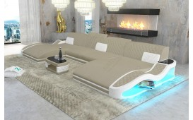 Divano di design DIABLO XXL DUO con illuminazione a LED e presa USB