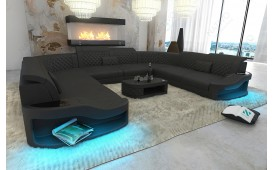 Canapé Design DIABLO CORNER U FORM avec éclairage LED & port USB