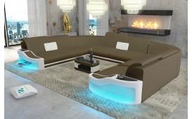 Divano di design DIABLO CORNER U FORM con illuminazione a LED e presa USB