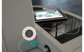 Poltrona di design DIABLO con illuminazione a LED e presa USB