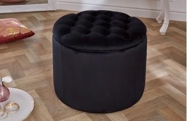 Designer Sitzhocker ROCCO BIG BLACK 50 cm NATIVO™ Möbel Schweiz