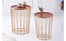 Table basse Design CAGE LUX SET 2 CORAL-GOLD