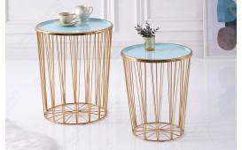 Table basse Design CAGE LUX SET 2 TIRKIZ-GOLD