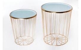 Tavolino di design CAGE LUX SET 2 TIRKIZ-GOLD