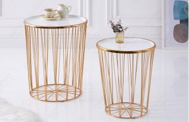 Tavolino di design CAGE LUX SET 2 WHITE-GOLD