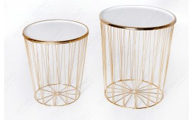 Table basse Design CAGE LUX SET 2 WHITE-GOLD