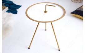 Table d'appoint Design SIMPLY BRIGHT WHITE-GOLD 36 cm