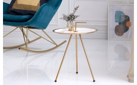 Designer Beistelltisch SIMPLY BRIGHT WHITE-GOLD 36 cm NATIVO™ Möbel Schweiz