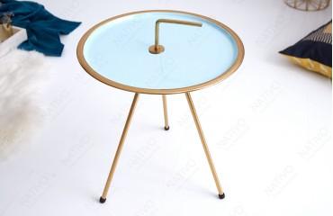 Tavolino d'appoggio di design SIMPLY BRIGHT TIRKIZ-GOLD 42 cm