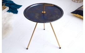 Table d'appoint Design SIMPLY BRIGHT BLUE-GOLD 42 cm