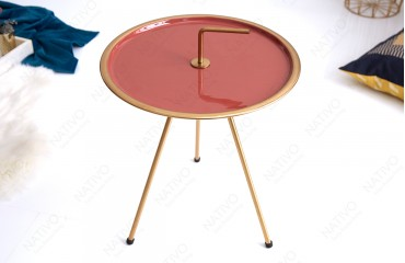 Table d'appoint Design SIMPLY BRIGHT CORAL-GOLD 42 cm