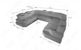 Designer Sofa NEMESIS CORNER U FORM mit LED Beleuchtung & USB Anschluss
