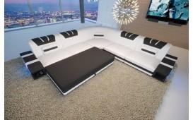 Canapé Design MYSTIQUE CORNER avec éclairage LED et port USB (Blanc / Noir) EN STOCK NATIVO™ Möbel Schweiz