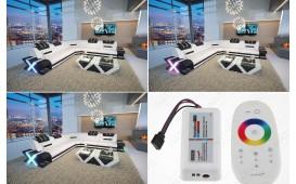 Designer Sofa MYSTIQUE CORNER mit LED Beleuchtung & USB Anschluss (Weiss / Schwarz) AB LAGER NATIVO™ Möbel Schweiz