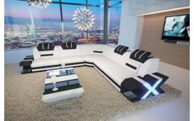 Designer Sofa MYSTIQUE CORNER mit LED Beleuchtung & USB Anschluss (Weiss / Schwarz) AB LAGER