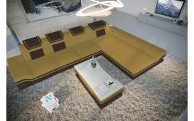Canapé Design ROUGE MINI avec éclairage LED et port USB (Magnolia / Dunkelbraun) EN STOCK