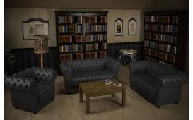 Sofa Garnitur CHESTERFIELD 3+2+1 (Anthrazit) AB LAGER NATIVO™ Möbel Schweiz