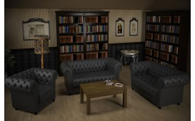 Sofa Garnitur CHESTERFIELD 3+2+1 (Anthrazit) AB LAGER