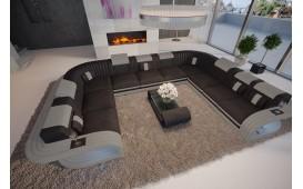 Designer Sofa ROYAL mit LED Beleuchtung & USB Anschluss (Schwarz / Grau) AB LAGER NATIVO™ Möbel Schweiz