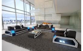 Divano di design CLERMONT 3+2+1 con illuminazione a LED (Nero / Bianco) IN STOCK NATIVO™ Möbel Schweiz
