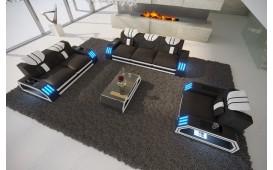 Designer Sofa CLERMONT 3+2+1 mit LED Beleuchtung (Schwarz / Weiss) AB LAGER NATIVO™ Möbel Schweiz