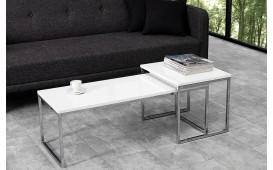 Designer Couchtisch UNITY CONTRAST WHITE SET 2