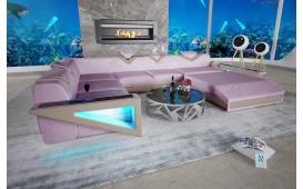 Designer Sofa FALCO XXL mit LED Beleuchtung & USB Anschluss (Lavander / Creme) AB LAGER