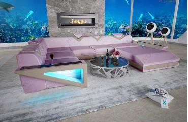 Canapé Design FALCO XXL avec éclairage LED et port USB (Lavander / Creme) EN STOCK NATIVO™ Möbel Schweiz