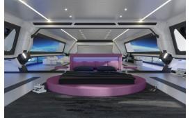 Lit tapissé COCO avec éclairage LED / circulaire NATIVO™ Möbel Schweiz