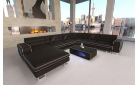 Canapé Design GREGORY XXL avec éclairage LED (Noir/ Blanc) EN STOCK