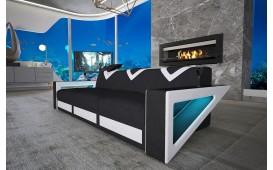 Canapé Design 3 places FALCO avec éclairage LED & port USB (Noir/Blanc) EN STOCK