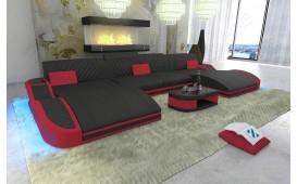 Canapé Design DIABLO XXL DUO avec éclairage LED & port USB (Noir/ Rouge)  EN  STOCK