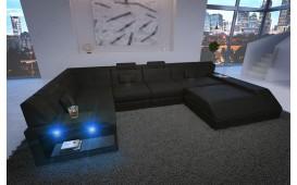 Designer Sofa MATIS XL mit LED Beleuchtung (Schwarz) AB LAGER