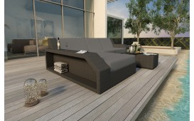 Divano Lounge MATIS MINI in rattan (Nero / Lilian 20) IN STOCK