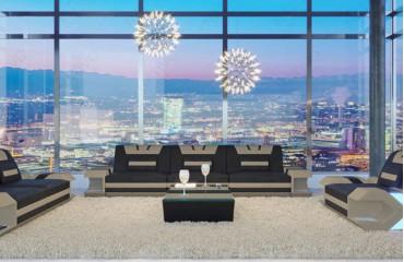 3 Sitzer Sofa MYSTIQUE mit LED Beleuchtung & USB Anschluss (Schwarz/Capuccino) AB LAGER