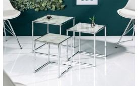 Table d'appoint Design UNITY GLASS WHITE 3-