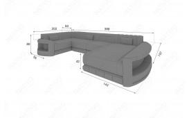 Designer Sofa ATLANTIS XL mit LED Beleuchtung & USB Anschluss (Grau/Weiss) AB LAGER-NATIVO™ Möbel Schweiz