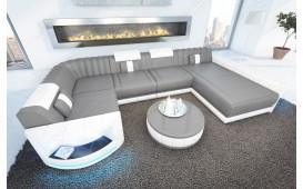 Designer Sofa ATLANTIS XL mit LED Beleuchtung & USB Anschluss (Grau/Weiss) AB LAGER