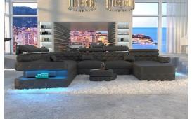 Canapé Design EXODUS XXL avec éclairage LED et port USB (Noir) EN STOCK-NATIVO™ Möbel Schweiz