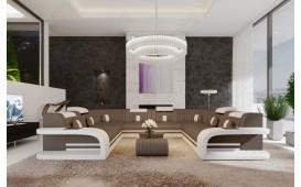 Designer Sofa ROYAL CORNER U FORM mit LED Beleuchtung & USB Anschluss