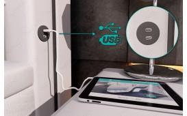 Lit boxspring ZÜRICH en cuir avec topper & port USB (Noir/Blanc) EN STOCK NATIVO™ Möbel Schweiz