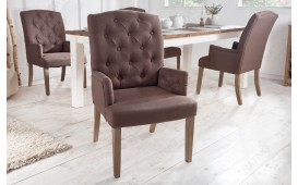 2 x Chaise Design FORTRESS BROWN avec accoudoirs
