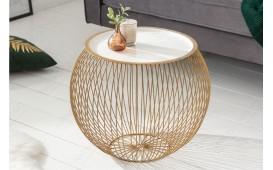 Table basse Design CAGE GOLD WHITE 51 cm